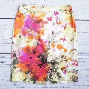 J.Crew The Pencil Skirt Floral Watercolor